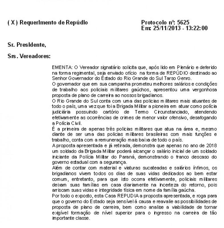"""VEREADOR FERNANDO SANT""""ANNA DE MORAES (PP) ENCAMINHA REQUERIMENTO DE REPÚDIO AO GOVERNADOR DO ESTADO QUANTO AO PLANO DE CARREIRA PROPOSTO AOS POLICIAIS MILITARES GAÚCHOS"""