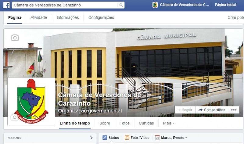 Câmara conta com página em rede social