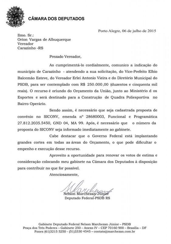 Vereador recebe confirmação de emenda parlamentar para quadra poliesportiva no bairro Operário
