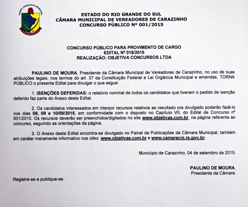 Concurso público: resultado da lista de isenções de taxa de inscrição