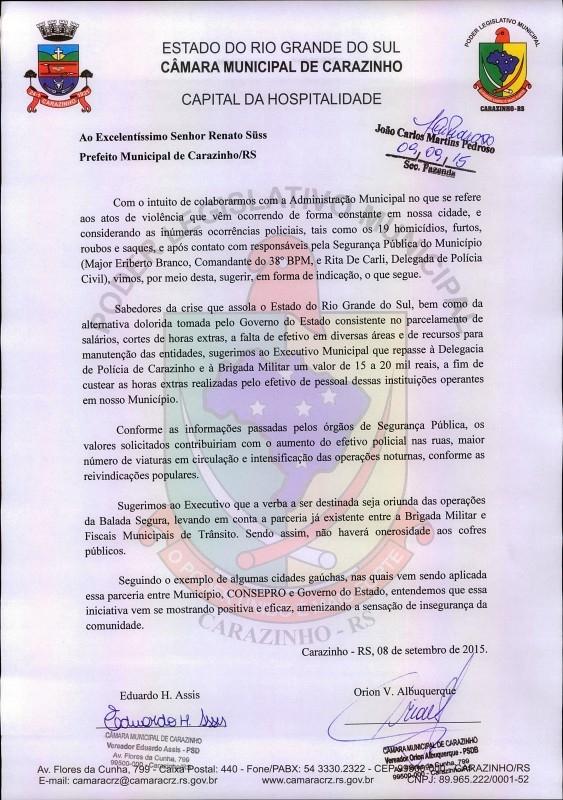 Vereadores protocolam ofício indicando pagamento de horas extras a segurança