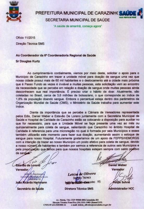Vereadores participam de carta reivindicando coleta de sangue em Carazinho