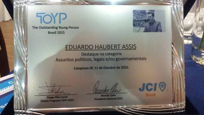 Prêmio TOYP é entregue a vereador