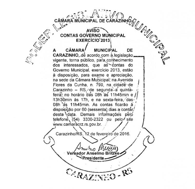 Contas do Governo Municipal exercício 2013 estão na Câmara de Vereadores
