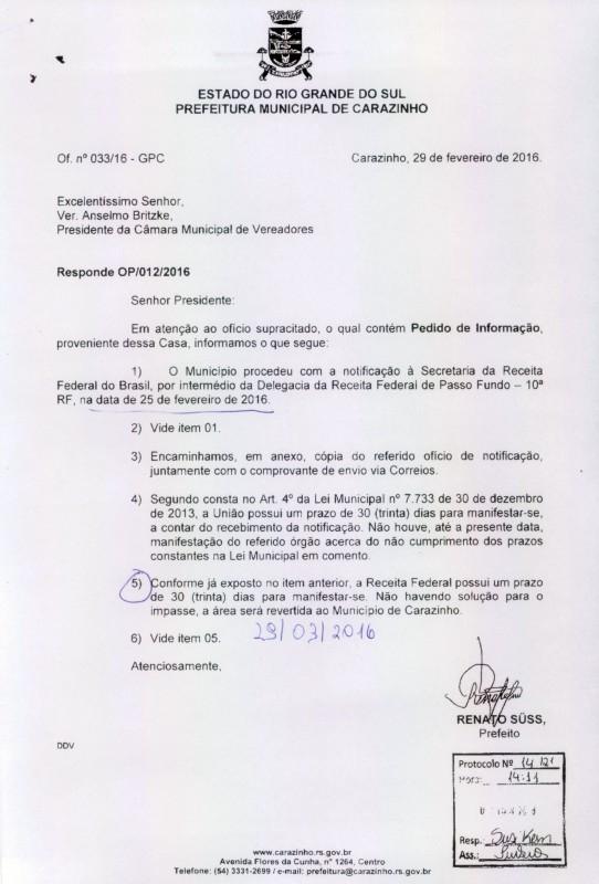Após pedido de informação município notifica Receita Federal
