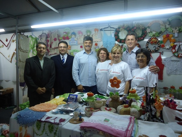 Presidente Gilnei Jarré e vereador Eugenio Grandó visitam 3ª Artsul.