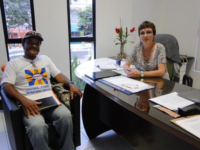 A Presidente Sandra Citolin se reúne com o Presidente da Liga do Carnaval de Carazinho