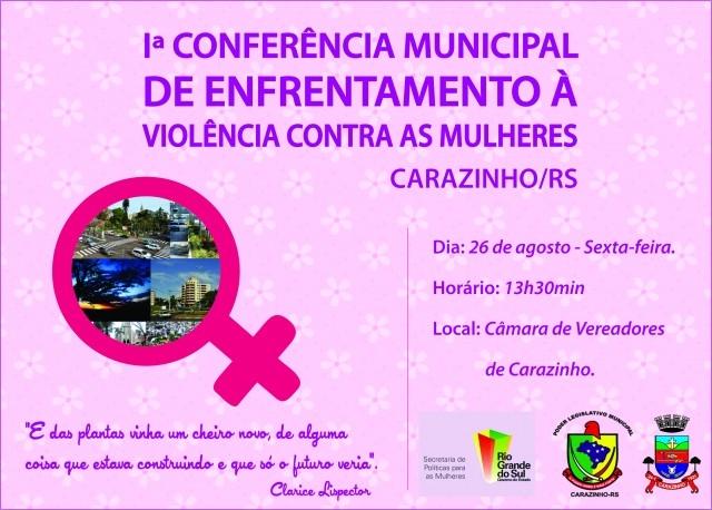 CONVITE PARA 1ª Conferência Municipal de Enfrentamento à Violência Contra as Mulheres