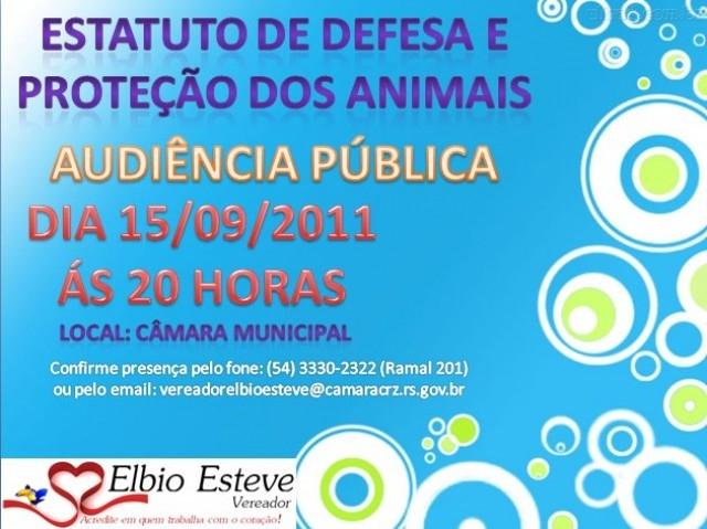 É Hoje! Audiência Pública que irá debater o Estatuto de Defesa, Controle e Proteção dos Animais