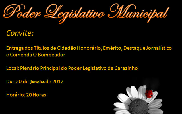 Convite Para Reunião Solene do Legislativo