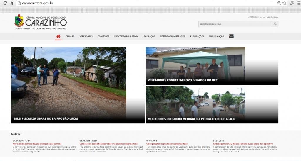 Novo site da câmara está no ar