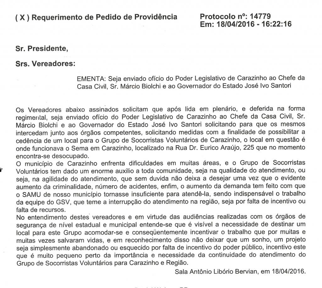 Vereadores pedem ao Governo do Estado cedência de um local para o GSV