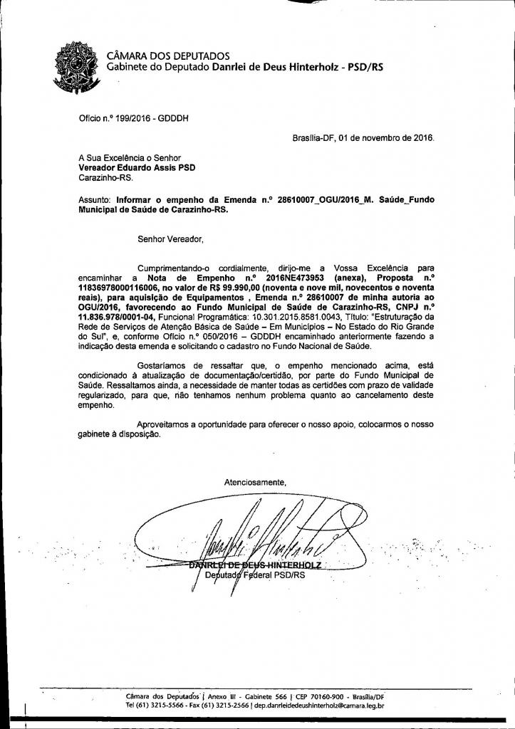 Confirmado recurso de quase R$ 100 mil para a saúde