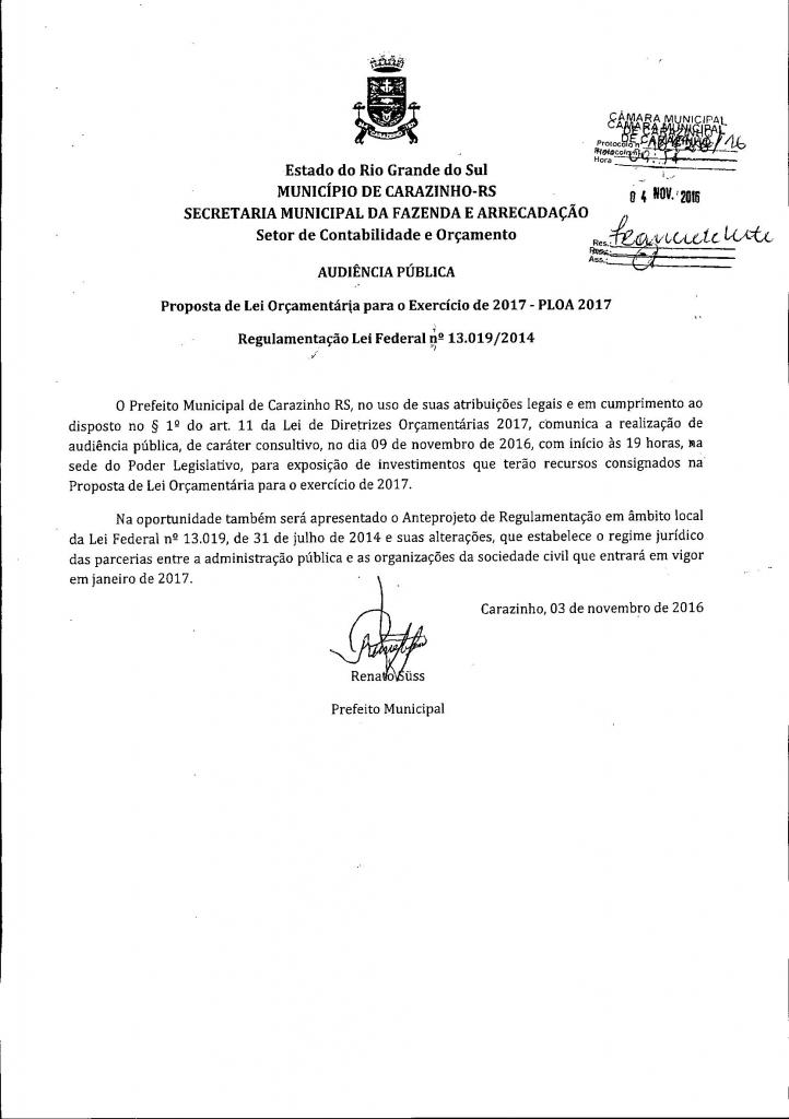 Câmara receberá audiência pública sobre a LOA 2017