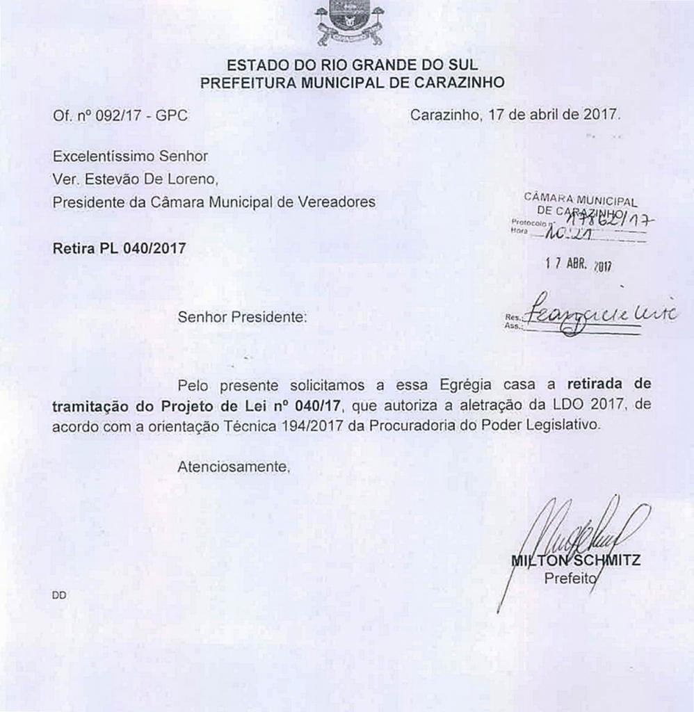 Executivo solicita retirada do PL 040/17