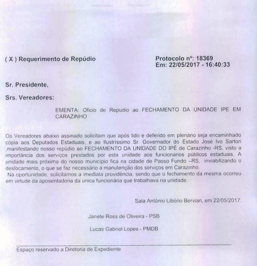 Vereadores fazem documento de repúdio ao fechamento da unidade do IPE em Carazinho