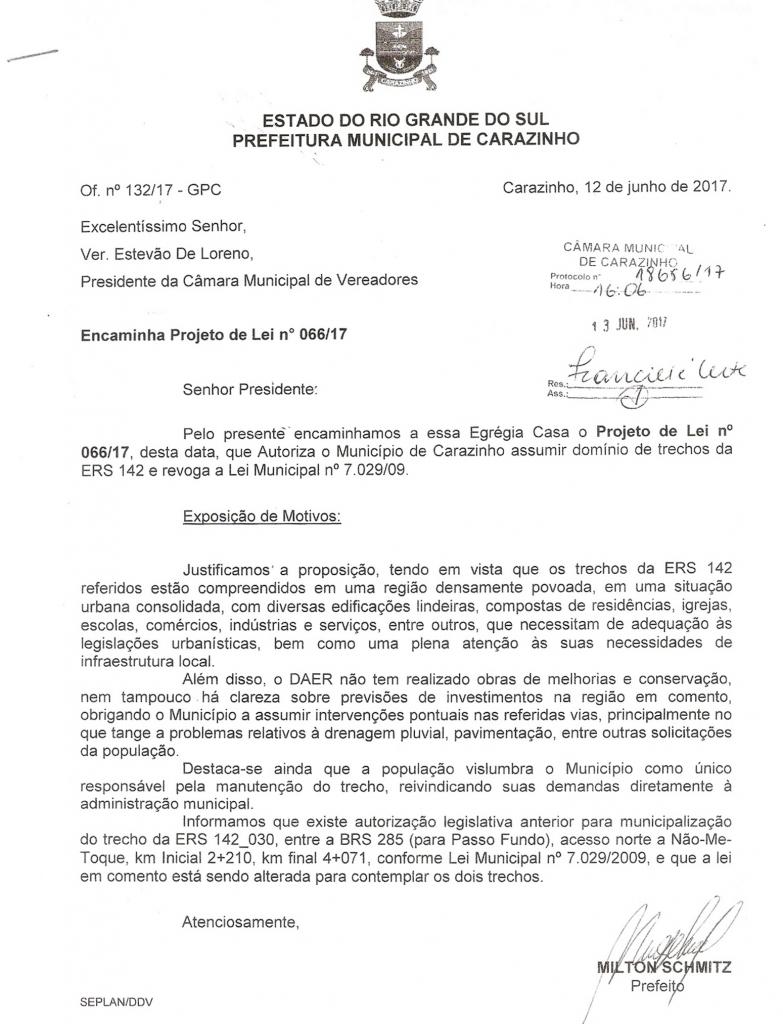 Projeto de lei prevê municipalização de trecho na ERS 142