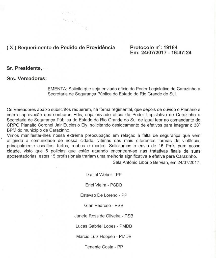 Vereadores encaminham ofício solicitando efetivo para a BM de Carazinho