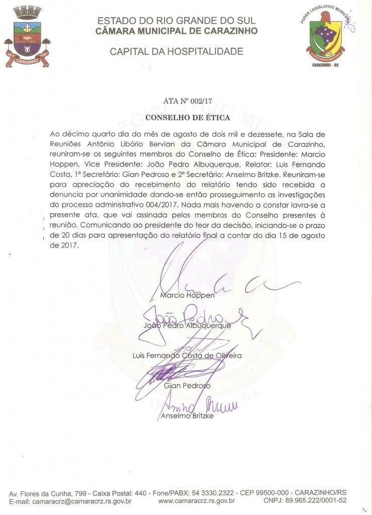 Conselho de Ética aceita denúncia contra vereador