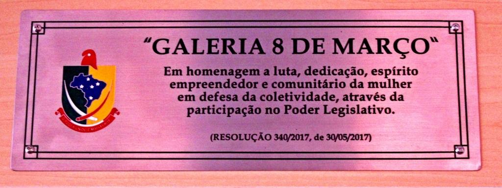 Galeria das mulheres do Legislativo passa a se chamar Galeria 8 de Março