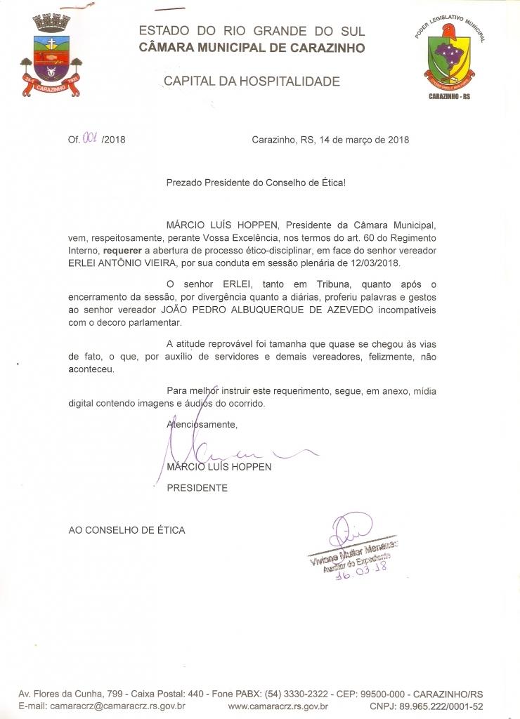 Presidente solicita abertura de processo ético-disciplinar na Câmara de Vereadores