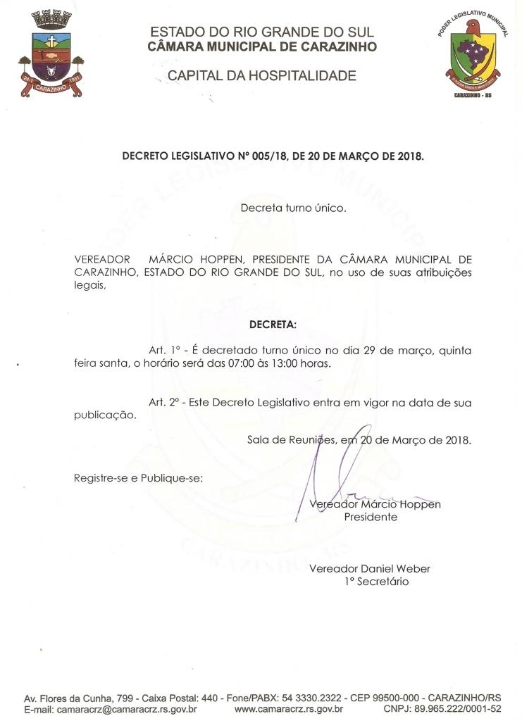 Câmara terá turno único na quinta-feira (29)