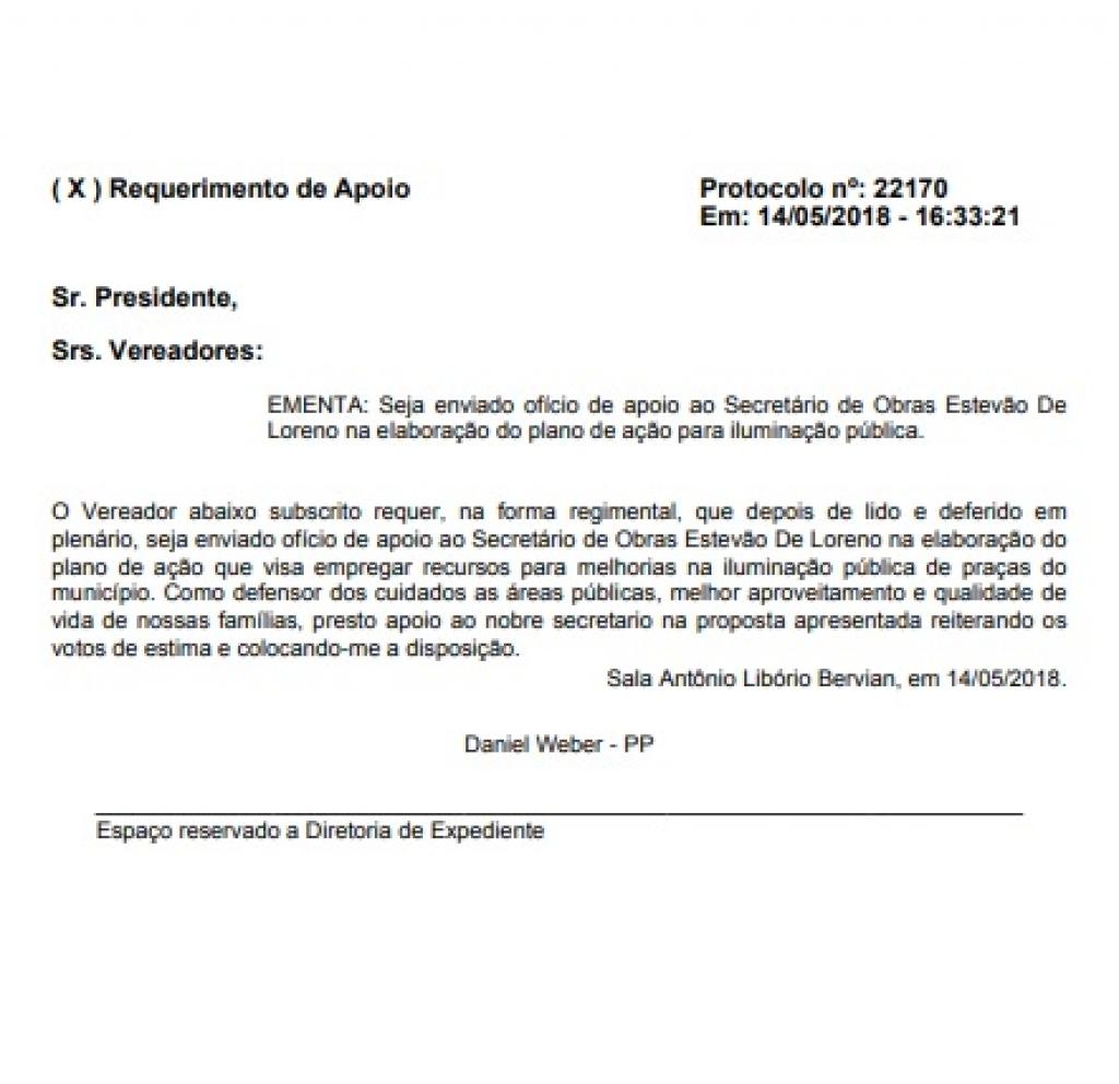 Legislativo manifesta apoio a projeto de melhoria na iluminação das praças públicas