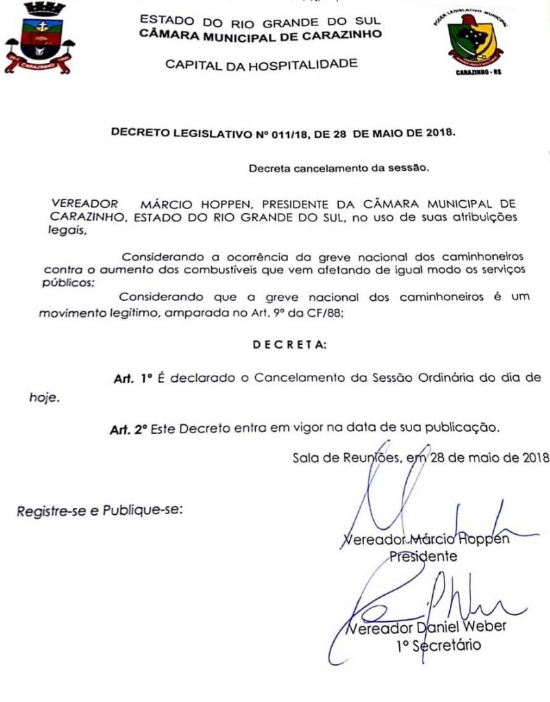 Legislativo cancela Reunião Ordinária de hoje em apoio a Greve Nacional dos Caminhoneiros.