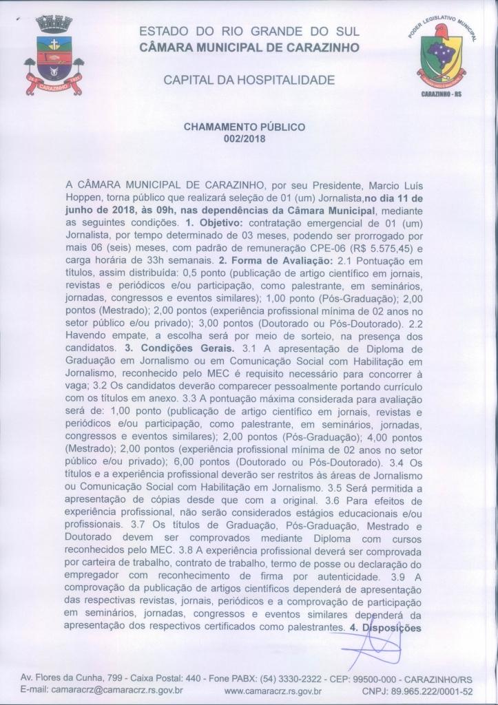 Câmara Municipal de Carazinho convoca interessados para Chamamento Público para o cargo de Jornalista