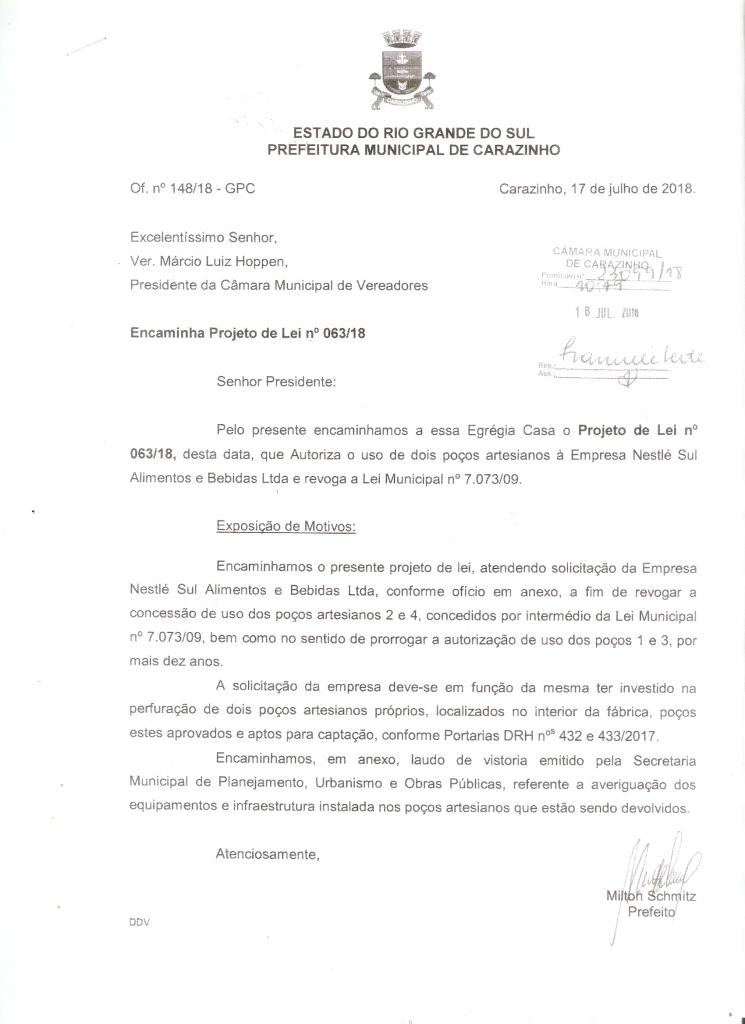 Readequado o projeto do executivo que autoriza concessão do uso de poços artesianos para a Nestlé